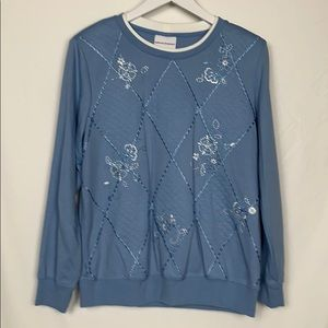 Alfred Dunner blue quilted sweatshirt size Sm.